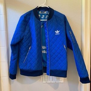 ADIDAS- blue quilted bomber jacket